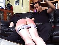 Shameful humiliating spanking and caning for buxom bitch with large buttocks