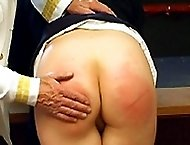 Blistering strapping with 3 tailed leather tawse on soft quivering ass cheeks of tearful girl