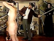 Naughty girl - fully nude - brutally caned on her bared cheeks