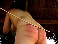 Huge wobbly ass covered in deep cane stripes - young lady reduced to tears