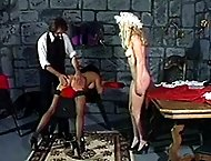 Brutal dungeon spankings for two sexy maids - lovely bottoms striped pink