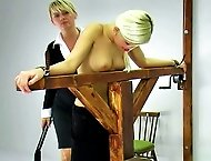 Lucie flunks a test and the cruel headmistress strips her and flogs her bare skin