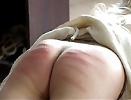 Pretty girl brutally caned on her fantatic big ass - deep purple stripes and welts
