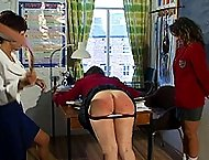 Scorching bare assed caning bent over the school desk - deep welts and stripes