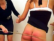 Bedroom punishments and hot lesbian spanking games - well striped cheeks