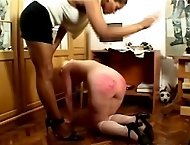 All fours caning for innocent sweetie - burning cane marks on pert little ass