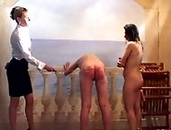 Caned on their wet bottoms by the swimming pool - streaming tears and painful welts