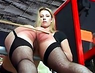 Two strict bitches spank and cane pretty innocent girl on her bare ass - flaming cheeks