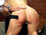 Naked bitch spanked and abused in the interrogation room - severe marks and welts