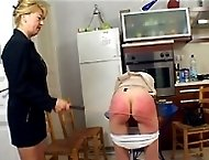 Spanked on the kitchen floor on all fours - sweet girl gets her delightful ass blistered