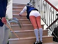 School girl drops her knickers on the stairs and bends over for a hard bare assed caning