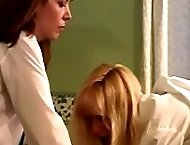 Two pretty school girls caned on their naked buttocks in the classroom - hot streaming tears