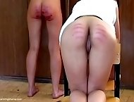 2 Russian girls in their classroom, beaten on their bare bottoms