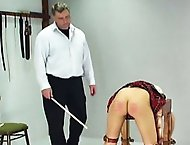 Lucie has disobeyed her teacher one too many times and is called into the headmasters office for a good caning.  With help from another teacher, the h